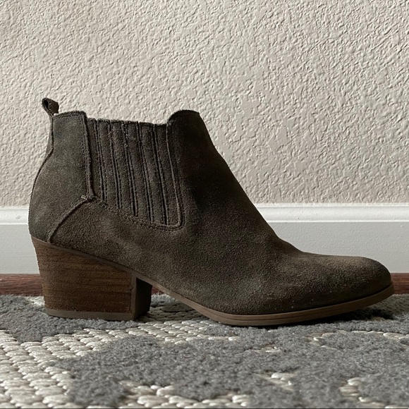 Crown Vintage Olive Green Suede Ankle Boots